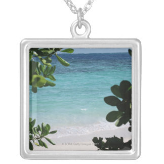Trees and the sea silver plated necklace