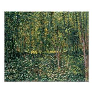 Trees and Undergrowth 1887 Print