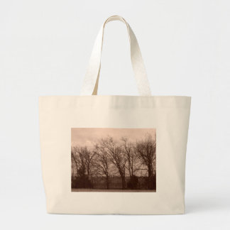 Trees at Dawn on Fence Line Tote Bags