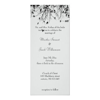 Trees & Birds 10 Cm X 24 Cm Invitation Card