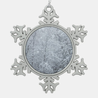 Trees Covered in Heavy Snow Snowflake Pewter Christmas Ornament