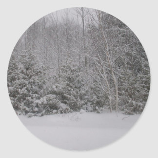 Trees Covered in Snow Round Sticker