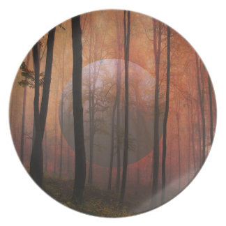 Trees Forest Planet Surreal Landscape Art Plate