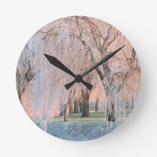 Trees Ice Covered Willow Round Wallclock