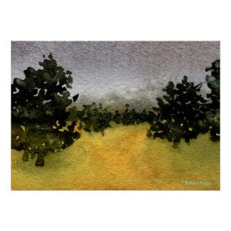 """""""Trees in a Field #2"""" Landscape Poster"""