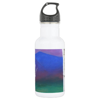 Trees in front of mountians at Sunset 532 Ml Water Bottle