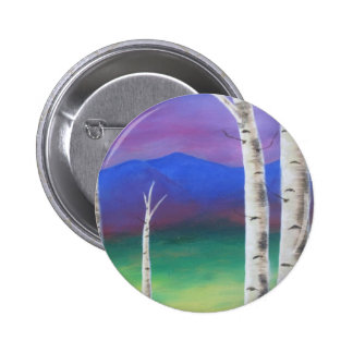 Trees in front of mountians at Sunset Pinback Button