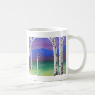 Trees in front of mountians at Sunset Basic White Mug