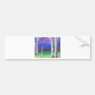 Trees in front of mountians at Sunset Bumper Sticker