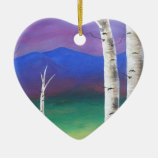Trees in front of mountians at Sunset Ceramic Heart Decoration