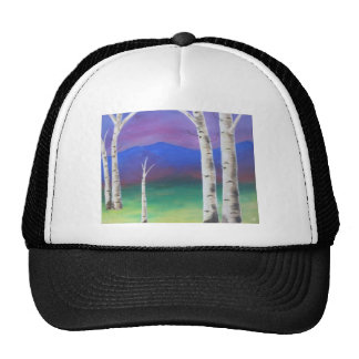 Trees in front of mountians at Sunset Hats