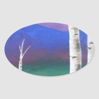 Trees in front of mountians at Sunset Oval Sticker
