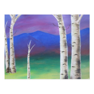 Trees in front of mountians at Sunset Postcard