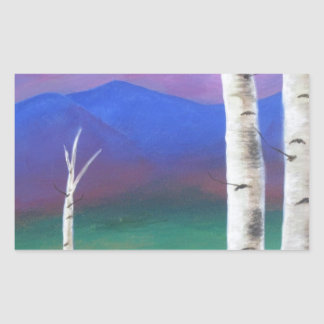 Trees in front of mountians at Sunset Rectangular Sticker