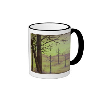 Trees In Gold Coffee Mug With Black Trim