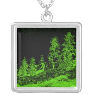 Trees In The Dark Square Pendant Necklace
