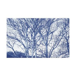 Trees in Winter - Cyanotype Effect Canvas Print