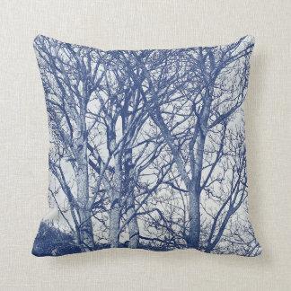 Trees in Winter - Cyanotype Effect Cushion