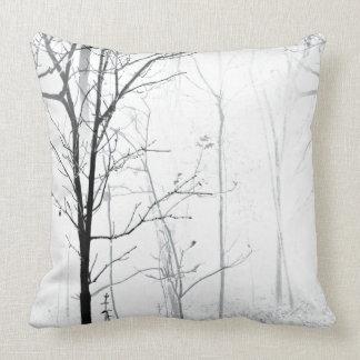 Trees Minimalist Black and White Throw Pillow Cushion
