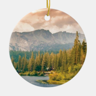 trees mountain and stream ceramic ornament