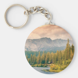 trees mountain and stream key ring