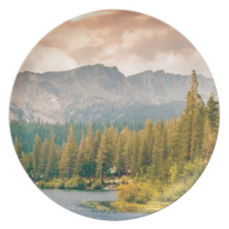 trees mountain and stream plate