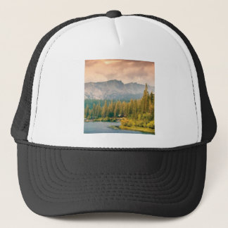 trees mountain and stream trucker hat