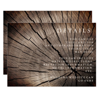Trees & Nature Textured Wedding Reception details Card