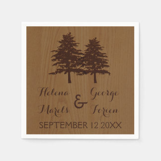 Trees on wood brown woodland wedding disposable napkin