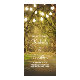 Trees Path String Lights Wedding Programs Rack Card