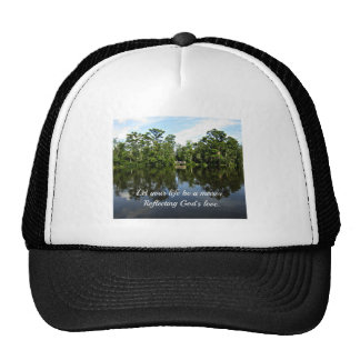 Trees reflected on water with Christain message Mesh Hat