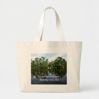 Trees reflected on water with Christain message Jumbo Tote Bag