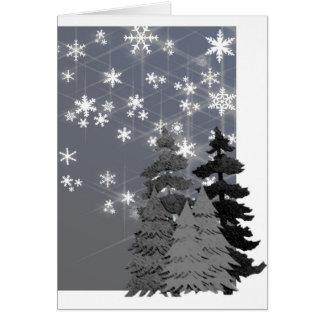 Trees, snowy night Christmas note card. Greeting Card