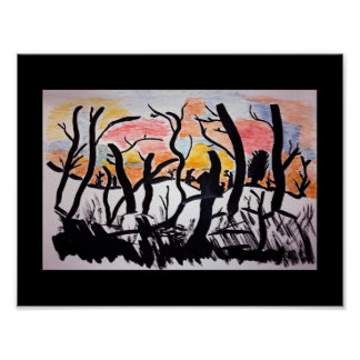 Trees Sunrise Ink Drawing Poster