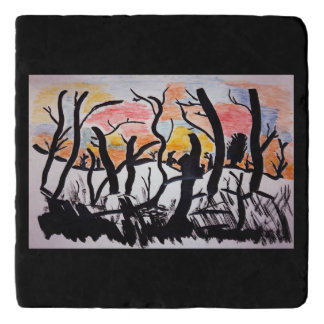 Trees Sunrise Ink Drawing Trivets