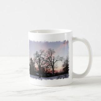 Trees with a sunset coffee mug