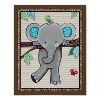Treetop Jungle Buddies. Elephant Nursery Art Poster