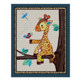 Treetop Jungle Buddies. Giraffe Nursery Art Poster