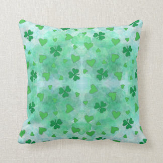Trefoils and green hearts. cushion
