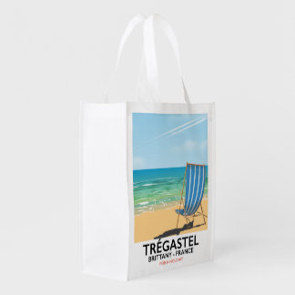 Trégastel, Brittany France beach vacation poster Reusable Grocery Bag