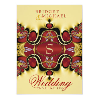 Trek Royale Satin Red+Creme Wedding Invitation