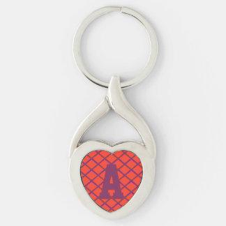 Trellis Diamond Pattern Monogram Silver-Colored Twisted Heart Key Ring
