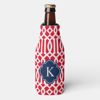 Trellis in Navy & Red | Bottle Cooler