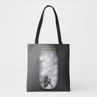 Trend-Setters Fairy Lights Jar Gray White Tote Bag