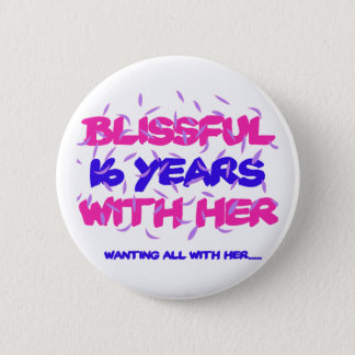 Trending 16th marriage anniversary designs 6 cm round badge