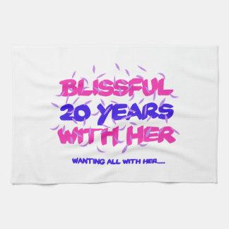Trending 20th marriage anniversary designs tea towel