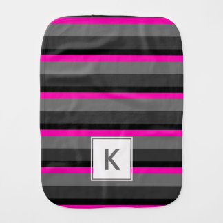 trending bright neon pink black and grey striped baby burp cloth