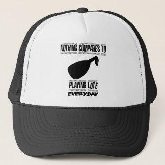 Trending lute player designs trucker hat