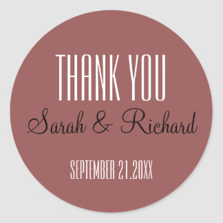 Trending Marsala Wedding Thank You Classic Round Sticker