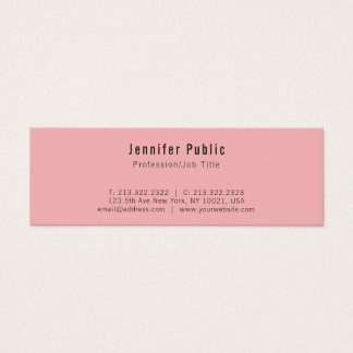 Trending Modern Elegant Pink Clean Plain Mini Business Card